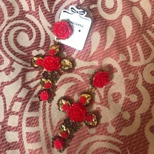 New Large Red Rose Gold Cross Statement Earrings